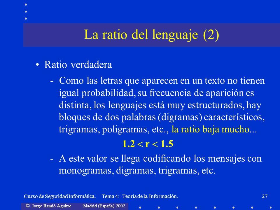 © Jorge Ramió Aguirre Madrid (España) 2002 Curso de Seguridad Informática. Tema 4: Teoría de la Información.27 Ratio verdadera - Como las letras que a