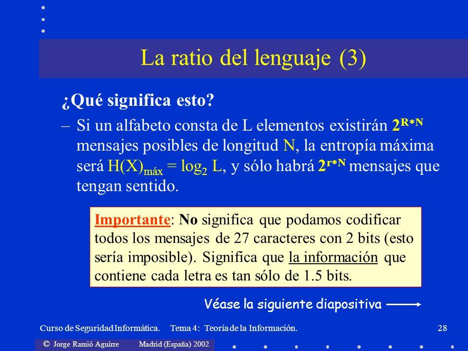 © Jorge Ramió Aguirre Madrid (España) 2002 Curso de Seguridad Informática. Tema 4: Teoría de la Información.28 ¿Qué significa esto? –Si un alfabeto co