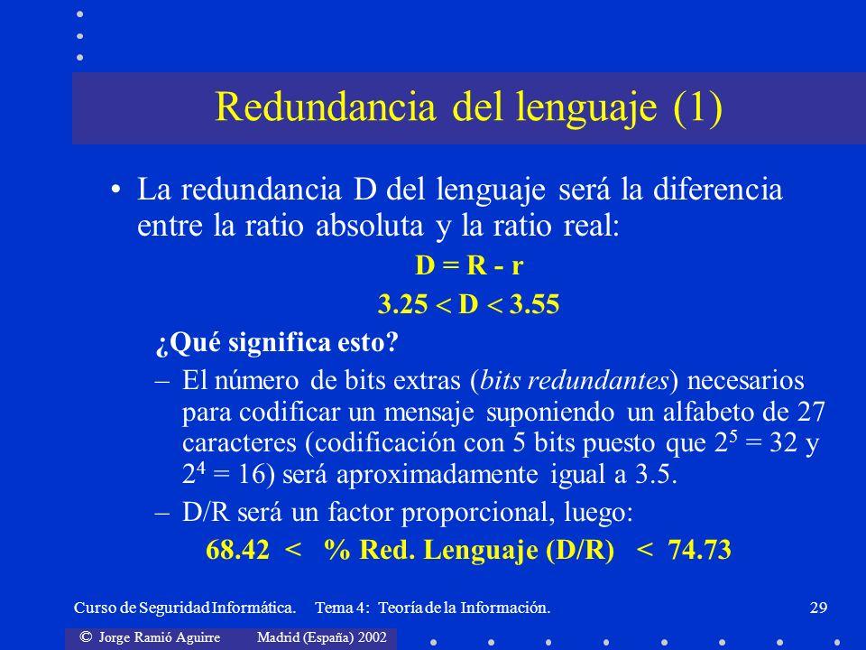 © Jorge Ramió Aguirre Madrid (España) 2002 Curso de Seguridad Informática. Tema 4: Teoría de la Información.29 La redundancia D del lenguaje será la d