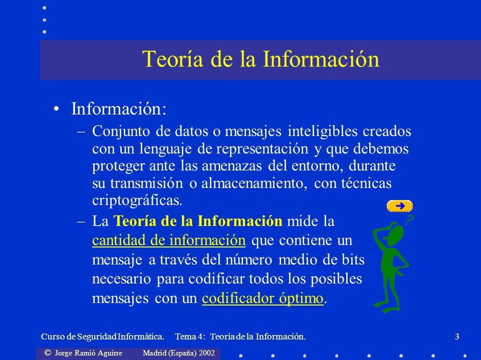 © Jorge Ramió Aguirre Madrid (España) 2002 Curso de Seguridad Informática. Tema 4: Teoría de la Información.3 Información: –Conjunto de datos o mensaj