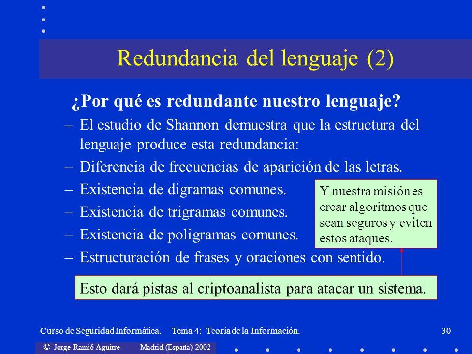 © Jorge Ramió Aguirre Madrid (España) 2002 Curso de Seguridad Informática. Tema 4: Teoría de la Información.30 ¿Por qué es redundante nuestro lenguaje