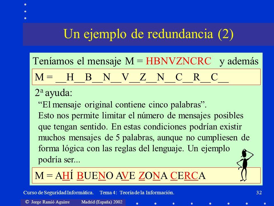 © Jorge Ramió Aguirre Madrid (España) 2002 Curso de Seguridad Informática. Tema 4: Teoría de la Información.32 Teníamos el mensaje M = HBNVZNCRC y ade