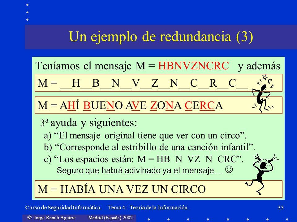 © Jorge Ramió Aguirre Madrid (España) 2002 Curso de Seguridad Informática. Tema 4: Teoría de la Información.33 Teníamos el mensaje M = HBNVZNCRC y ade