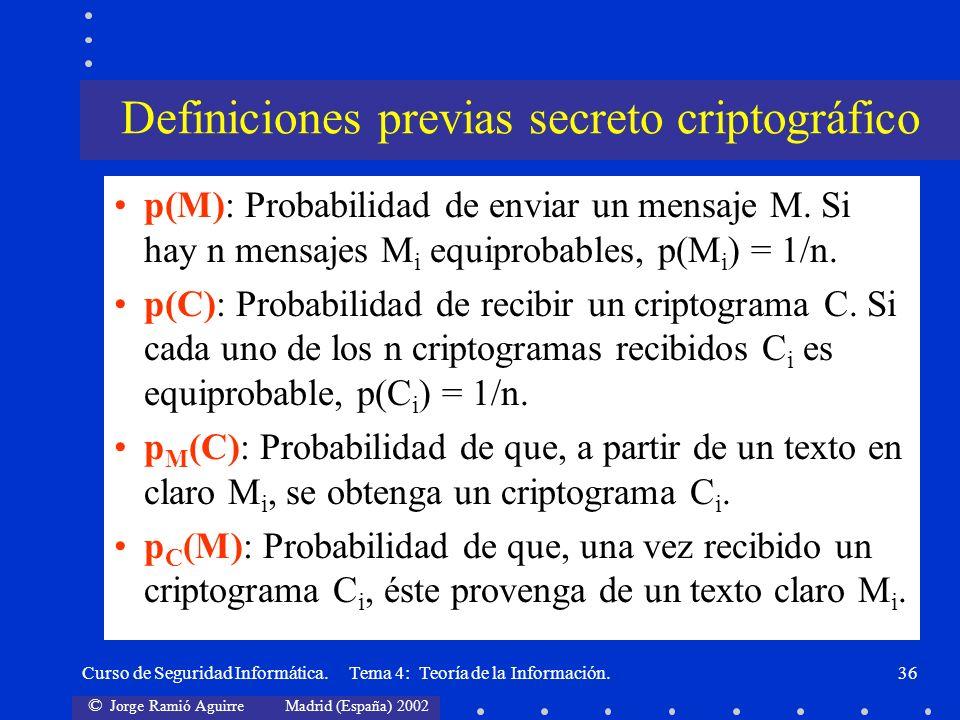 © Jorge Ramió Aguirre Madrid (España) 2002 Curso de Seguridad Informática. Tema 4: Teoría de la Información.36 p(M): Probabilidad de enviar un mensaje