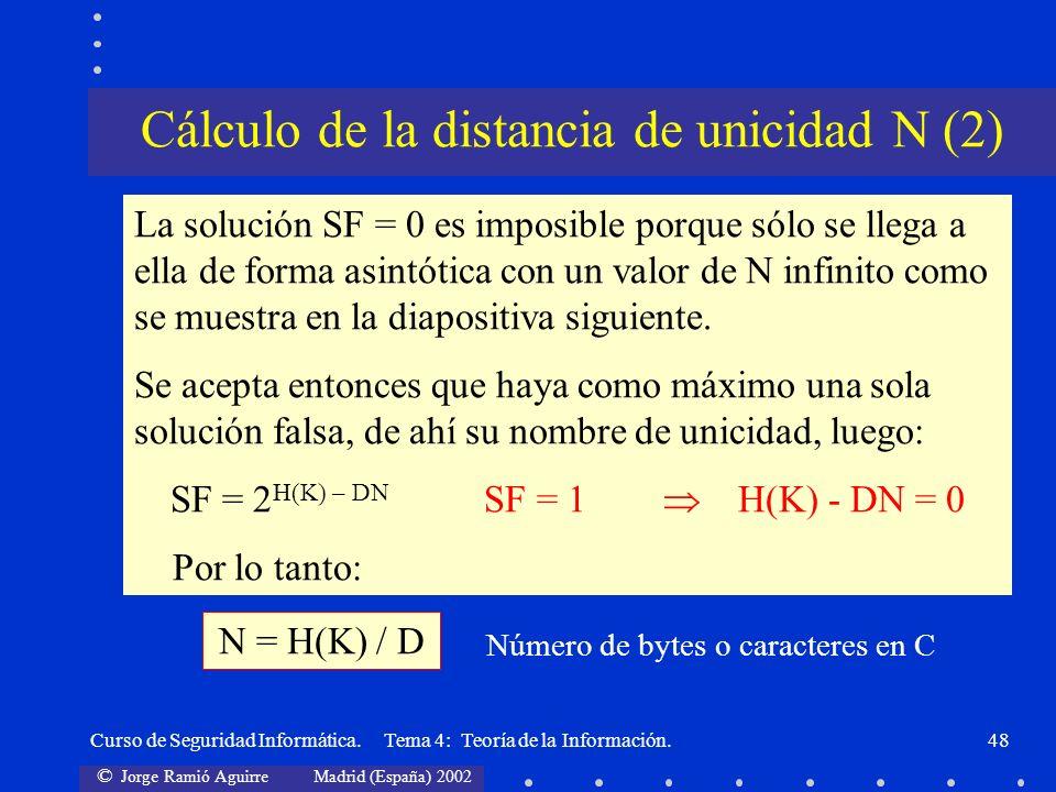 © Jorge Ramió Aguirre Madrid (España) 2002 Curso de Seguridad Informática. Tema 4: Teoría de la Información.48 La solución SF = 0 es imposible porque