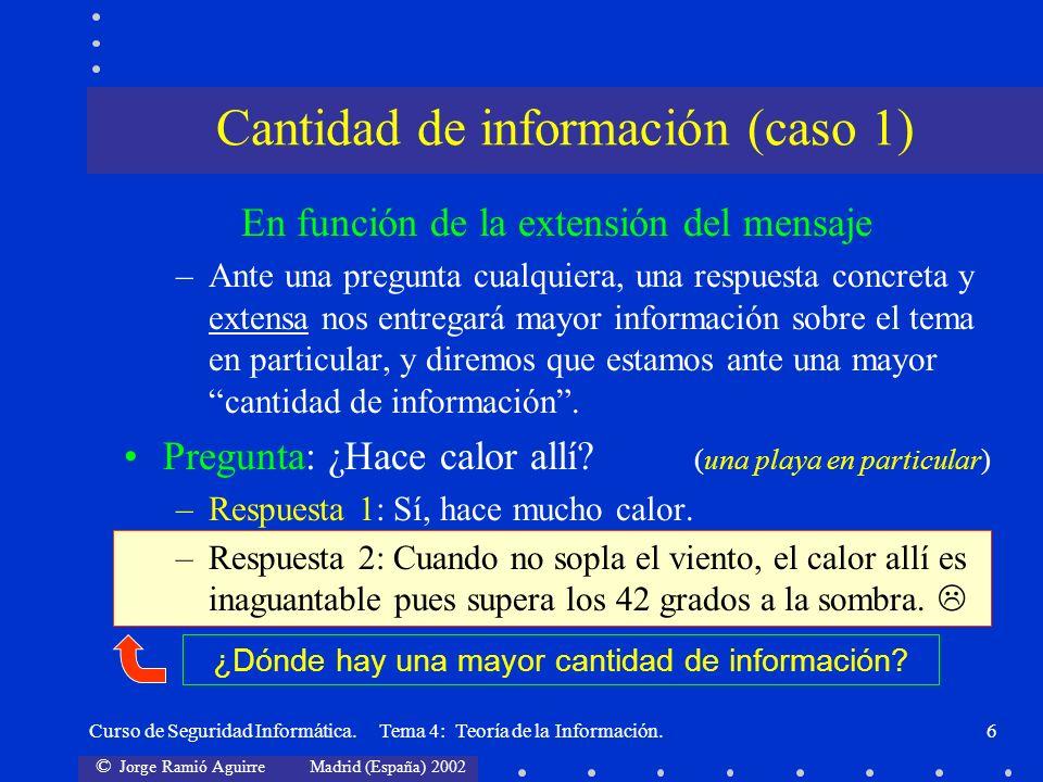 © Jorge Ramió Aguirre Madrid (España) 2002 Curso de Seguridad Informática. Tema 4: Teoría de la Información.6 En función de la extensión del mensaje –