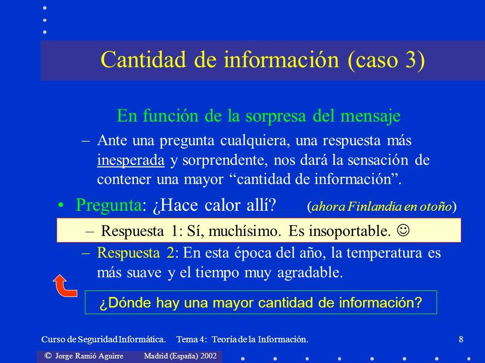© Jorge Ramió Aguirre Madrid (España) 2002 Curso de Seguridad Informática. Tema 4: Teoría de la Información.8 En función de la sorpresa del mensaje –A