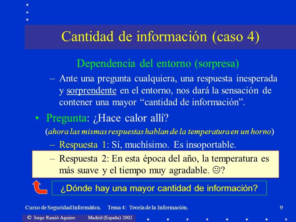 © Jorge Ramió Aguirre Madrid (España) 2002 Curso de Seguridad Informática. Tema 4: Teoría de la Información.9 Dependencia del entorno (sorpresa) –Ante