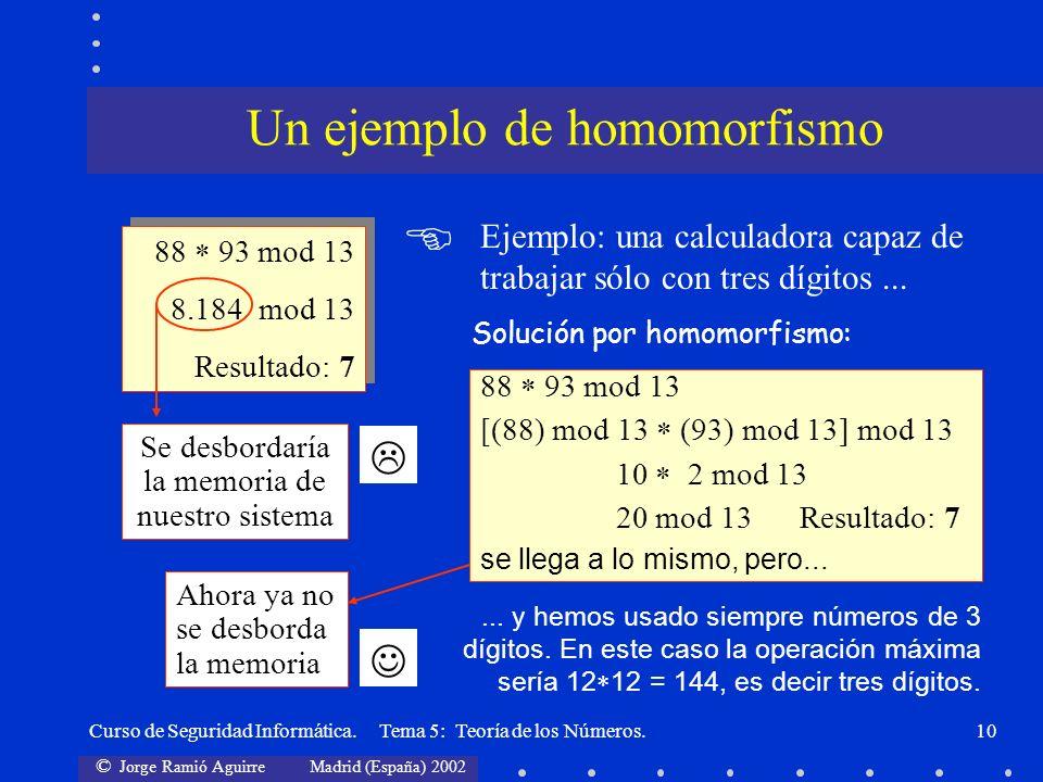 © Jorge Ramió Aguirre Madrid (España) 2002 Curso de Seguridad Informática. Tema 5: Teoría de los Números.10 88 93 mod 13 8.184 mod 13 Resultado: 7 88