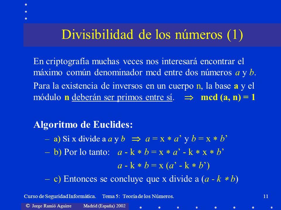 © Jorge Ramió Aguirre Madrid (España) 2002 Curso de Seguridad Informática. Tema 5: Teoría de los Números.11 En criptografía muchas veces nos interesar