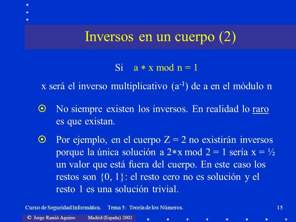 © Jorge Ramió Aguirre Madrid (España) 2002 Curso de Seguridad Informática. Tema 5: Teoría de los Números.15 Si a x mod n = 1 x será el inverso multipl
