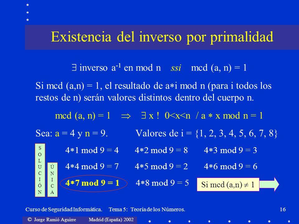 © Jorge Ramió Aguirre Madrid (España) 2002 Curso de Seguridad Informática. Tema 5: Teoría de los Números.16 inverso a -1 en mod n ssi mcd (a, n) = 1 S