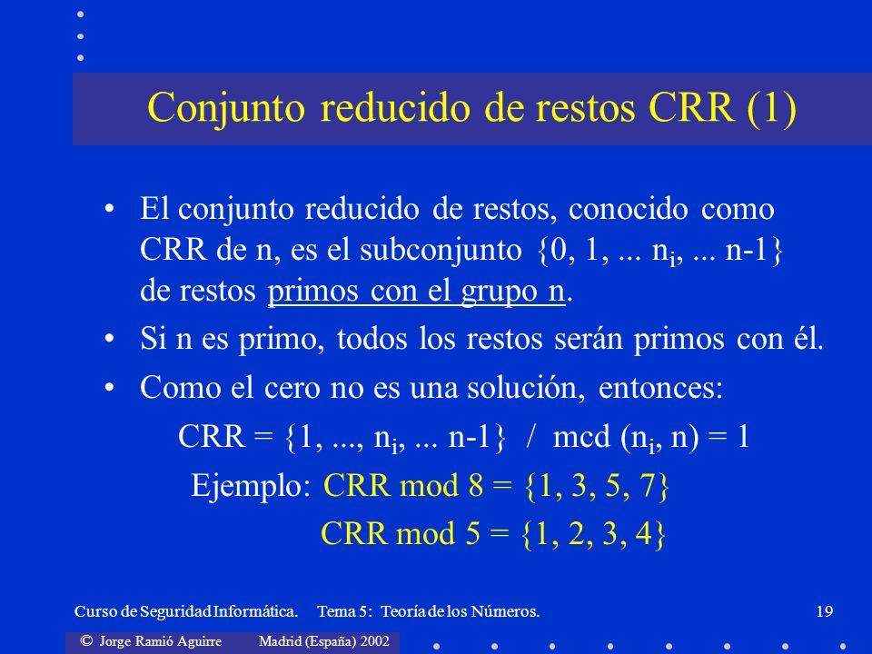 © Jorge Ramió Aguirre Madrid (España) 2002 Curso de Seguridad Informática. Tema 5: Teoría de los Números.19 El conjunto reducido de restos, conocido c