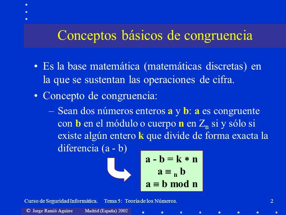 © Jorge Ramió Aguirre Madrid (España) 2002 Curso de Seguridad Informática. Tema 5: Teoría de los Números.2 Es la base matemática (matemáticas discreta