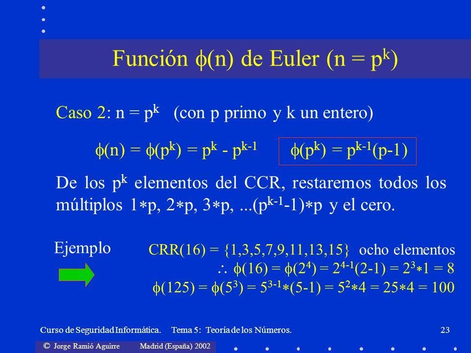 © Jorge Ramió Aguirre Madrid (España) 2002 Curso de Seguridad Informática. Tema 5: Teoría de los Números.23 Caso 2: n = p k (con p primo y k un entero