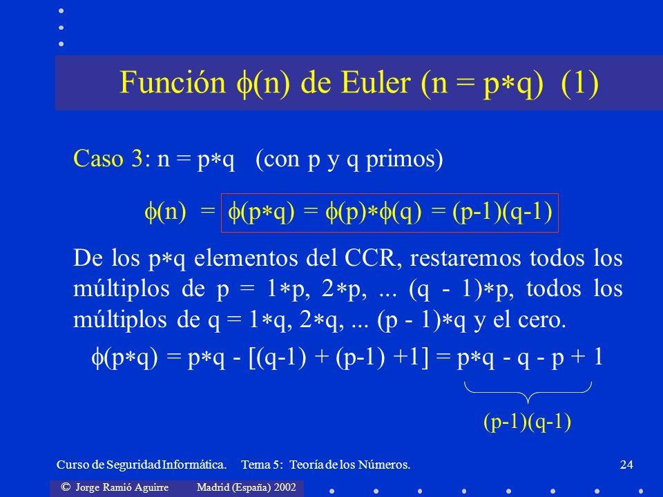 © Jorge Ramió Aguirre Madrid (España) 2002 Curso de Seguridad Informática. Tema 5: Teoría de los Números.24 Caso 3: n = p q (con p y q primos) (n) = (