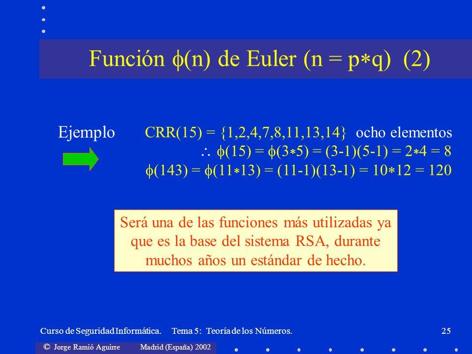 © Jorge Ramió Aguirre Madrid (España) 2002 Curso de Seguridad Informática. Tema 5: Teoría de los Números.25 CRR(15) = {1,2,4,7,8,11,13,14} ocho elemen
