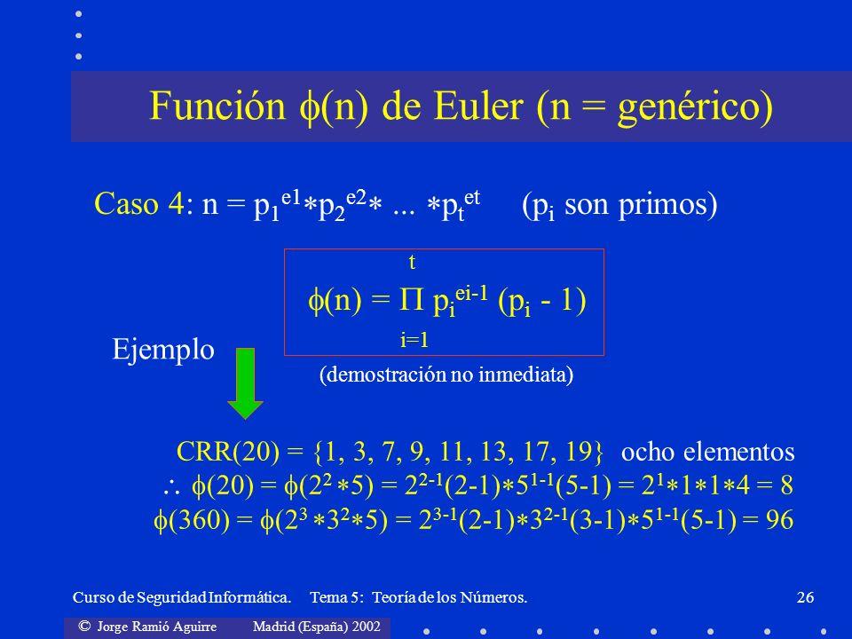 © Jorge Ramió Aguirre Madrid (España) 2002 Curso de Seguridad Informática. Tema 5: Teoría de los Números.26 Caso 4: n = p 1 e1 p 2 e2... p t et (p i s