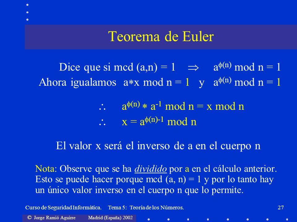 © Jorge Ramió Aguirre Madrid (España) 2002 Curso de Seguridad Informática. Tema 5: Teoría de los Números.27 Dice que si mcd (a,n) = 1 a (n) mod n = 1