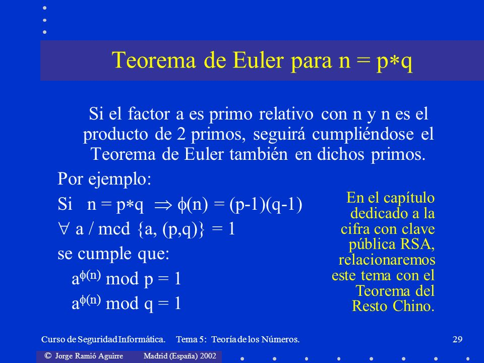 © Jorge Ramió Aguirre Madrid (España) 2002 Curso de Seguridad Informática. Tema 5: Teoría de los Números.29 Si el factor a es primo relativo con n y n