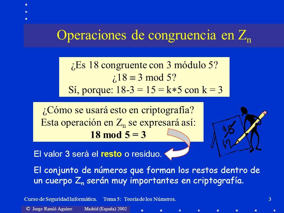 © Jorge Ramió Aguirre Madrid (España) 2002 Curso de Seguridad Informática. Tema 5: Teoría de los Números.3 ¿Es 18 congruente con 3 módulo 5? ¿18 3 mod