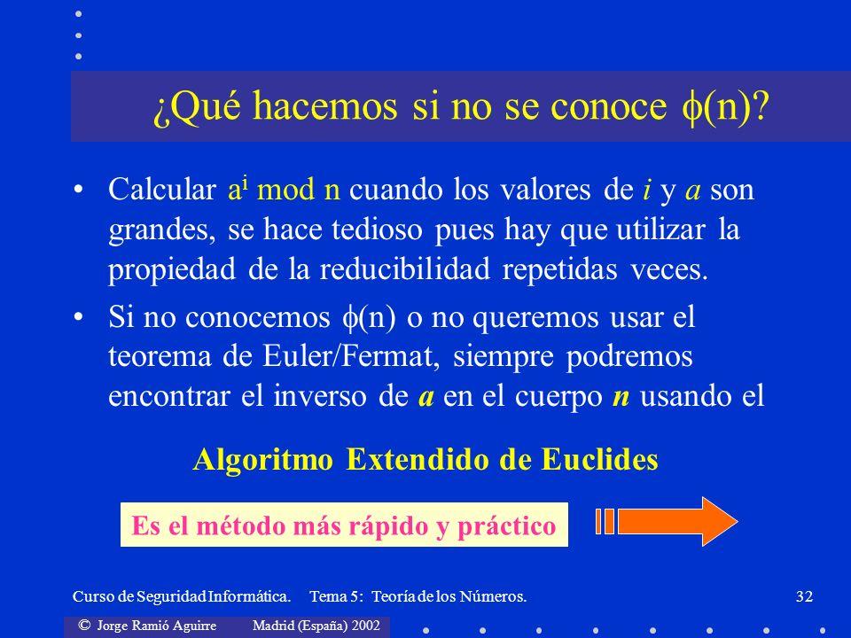 © Jorge Ramió Aguirre Madrid (España) 2002 Curso de Seguridad Informática. Tema 5: Teoría de los Números.32 Calcular a i mod n cuando los valores de i