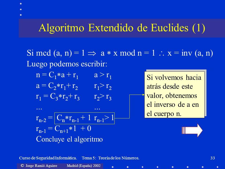 © Jorge Ramió Aguirre Madrid (España) 2002 Curso de Seguridad Informática. Tema 5: Teoría de los Números.33 Si mcd (a, n) = 1 a x mod n = 1 x = inv (a