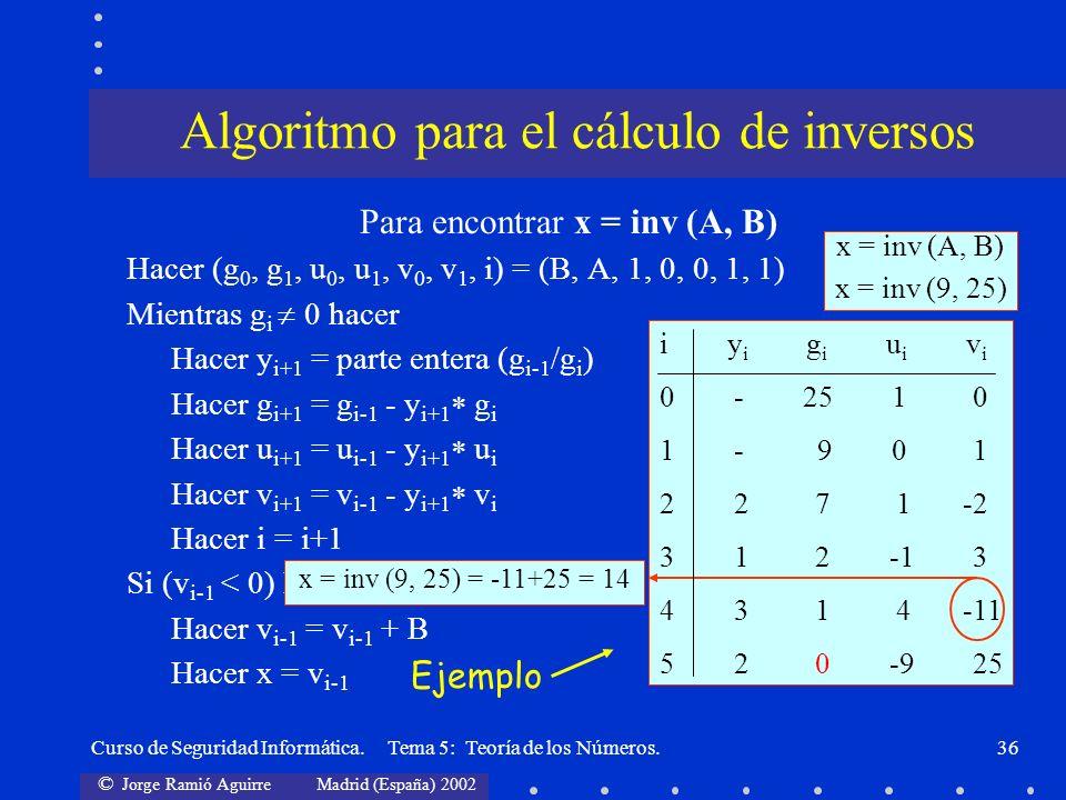 © Jorge Ramió Aguirre Madrid (España) 2002 Curso de Seguridad Informática. Tema 5: Teoría de los Números.36 Para encontrar x = inv (A, B) Hacer (g 0,