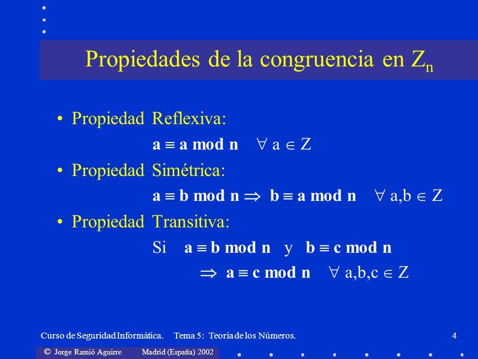 © Jorge Ramió Aguirre Madrid (España) 2002 Curso de Seguridad Informática. Tema 5: Teoría de los Números.4 Propiedad Reflexiva: a a mod n a Z Propieda