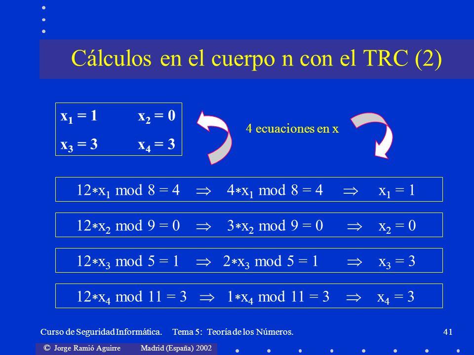 © Jorge Ramió Aguirre Madrid (España) 2002 Curso de Seguridad Informática. Tema 5: Teoría de los Números.41 12 x 1 mod 8 = 4 4 x 1 mod 8 = 4 x 1 = 1 4