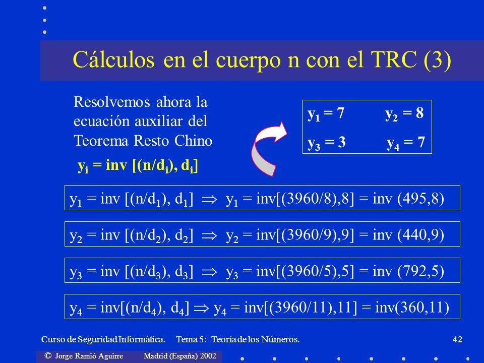 © Jorge Ramió Aguirre Madrid (España) 2002 Curso de Seguridad Informática. Tema 5: Teoría de los Números.42 y 1 = inv [(n/d 1 ), d 1 y 1 = inv[(3960/8