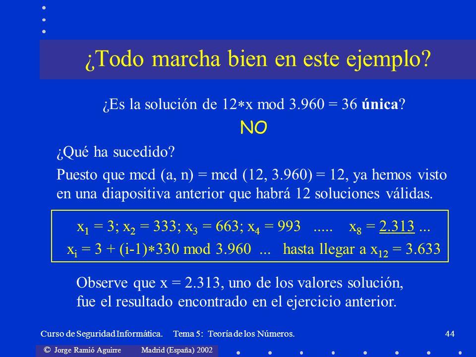 © Jorge Ramió Aguirre Madrid (España) 2002 Curso de Seguridad Informática. Tema 5: Teoría de los Números.44 ¿Es la solución de 12 x mod 3.960 = 36 úni