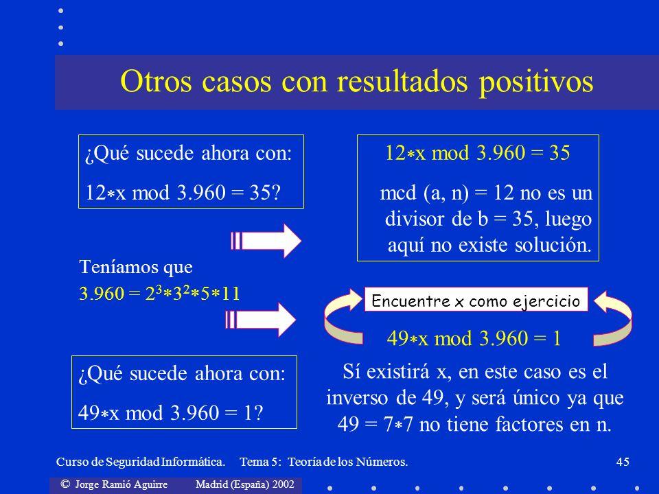 © Jorge Ramió Aguirre Madrid (España) 2002 Curso de Seguridad Informática. Tema 5: Teoría de los Números.45 Teníamos que 3.960 = 2 3 3 2 5 11 ¿Qué suc
