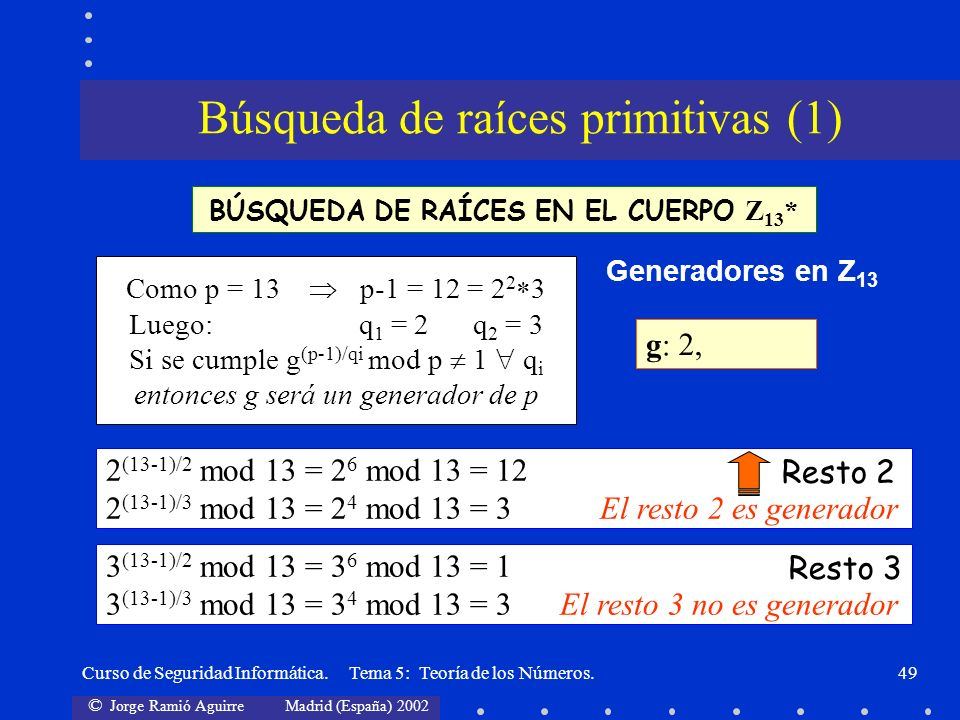 © Jorge Ramió Aguirre Madrid (España) 2002 Curso de Seguridad Informática. Tema 5: Teoría de los Números.49 BÚSQUEDA DE RAÍCES EN EL CUERPO Z 13 * Com