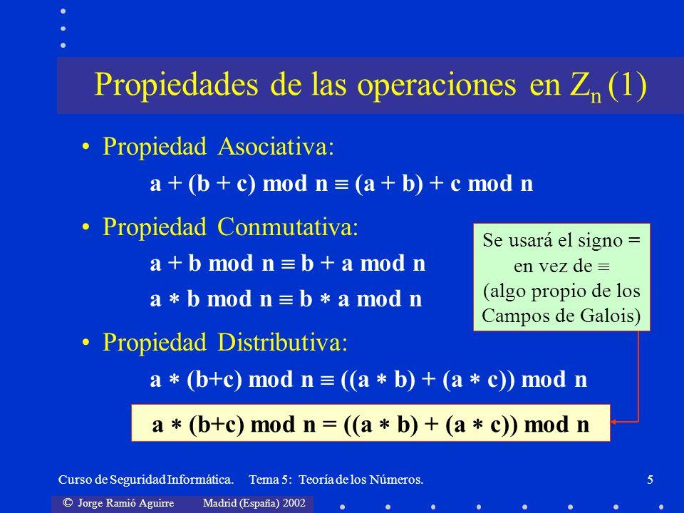 © Jorge Ramió Aguirre Madrid (España) 2002 Curso de Seguridad Informática. Tema 5: Teoría de los Números.5 Propiedad Asociativa: a + (b + c) mod n (a