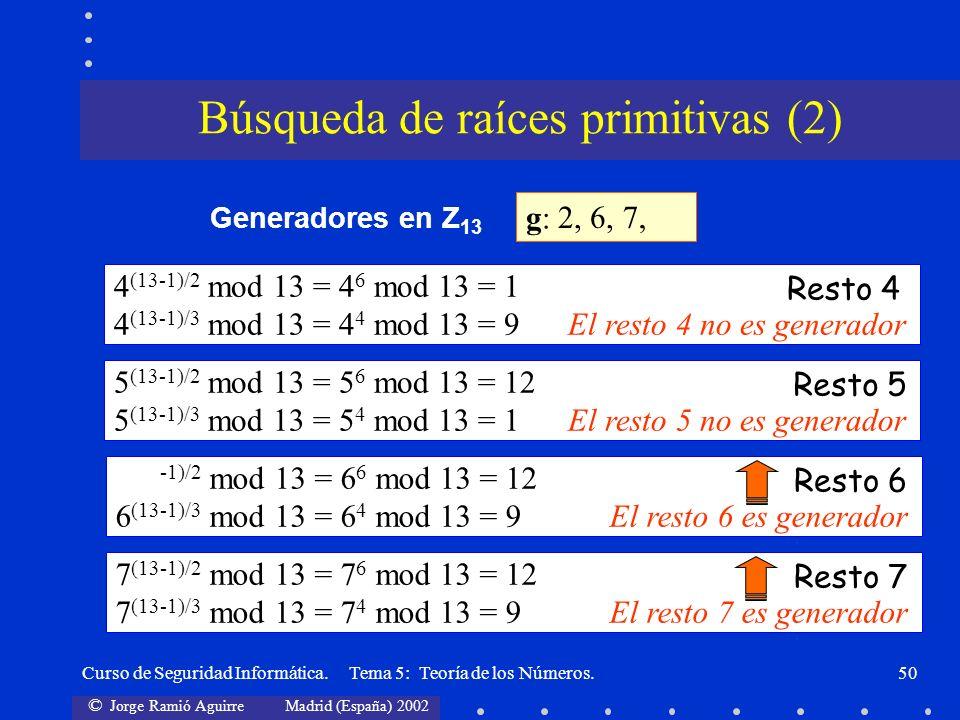 © Jorge Ramió Aguirre Madrid (España) 2002 Curso de Seguridad Informática. Tema 5: Teoría de los Números.50 g:g: 2, Generadores en Z 13 4 (13-1)/2 mod