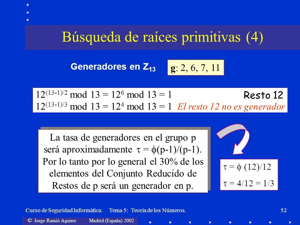 © Jorge Ramió Aguirre Madrid (España) 2002 Curso de Seguridad Informática. Tema 5: Teoría de los Números.52 12 (13-1)/2 mod 13 = 12 6 mod 13 = 1 12 (1