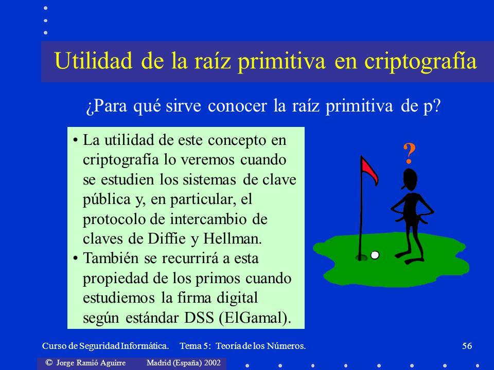 © Jorge Ramió Aguirre Madrid (España) 2002 Curso de Seguridad Informática. Tema 5: Teoría de los Números.56 ¿Para qué sirve conocer la raíz primitiva