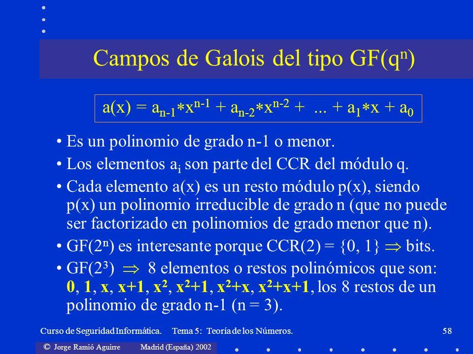 © Jorge Ramió Aguirre Madrid (España) 2002 Curso de Seguridad Informática. Tema 5: Teoría de los Números.58 Es un polinomio de grado n-1 o menor. Los