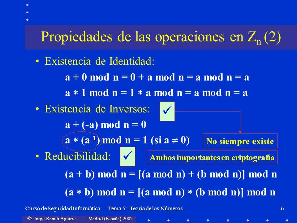 © Jorge Ramió Aguirre Madrid (España) 2002 Curso de Seguridad Informática. Tema 5: Teoría de los Números.6 Existencia de Identidad: a + 0 mod n = 0 +