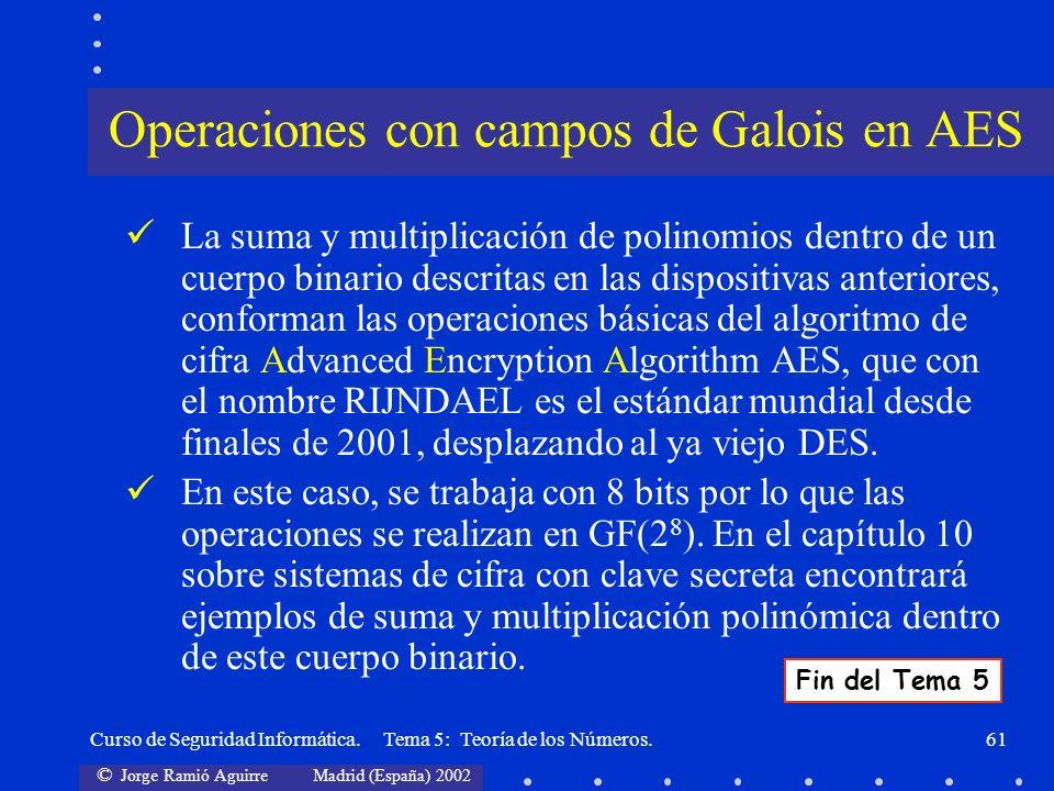 © Jorge Ramió Aguirre Madrid (España) 2002 Curso de Seguridad Informática. Tema 5: Teoría de los Números.61 La suma y multiplicación de polinomios den