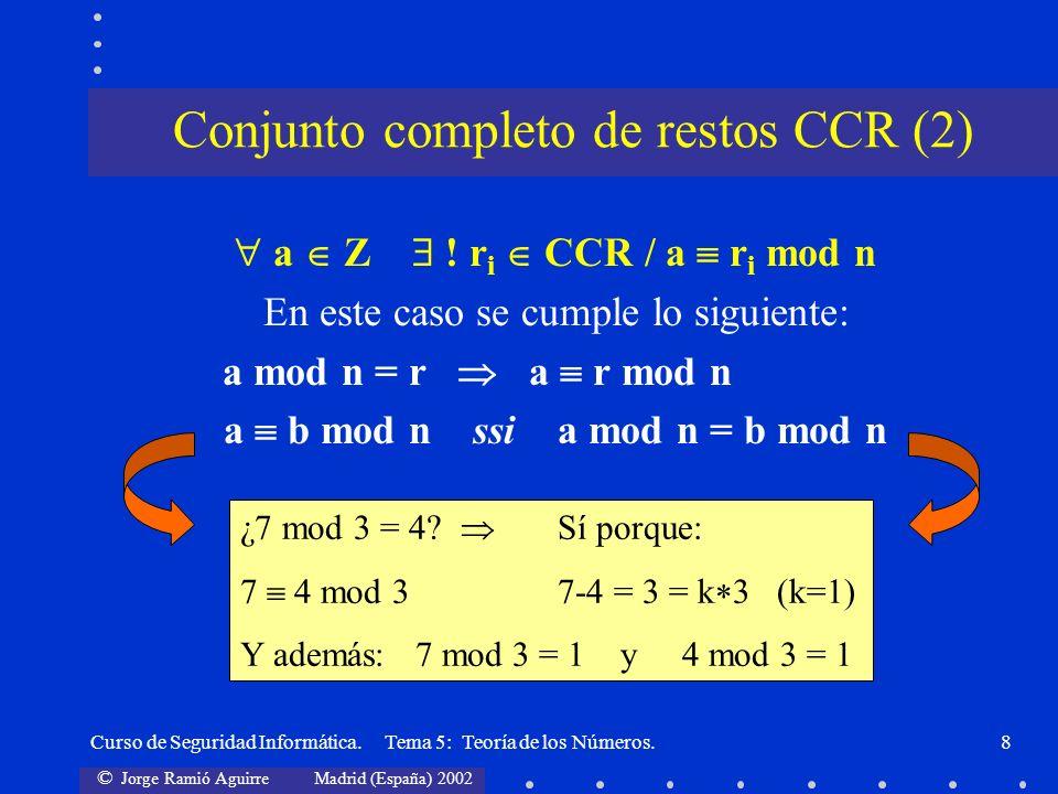 © Jorge Ramió Aguirre Madrid (España) 2002 Curso de Seguridad Informática. Tema 5: Teoría de los Números.8 a Z ! r i CCR / a r i mod n En este caso se