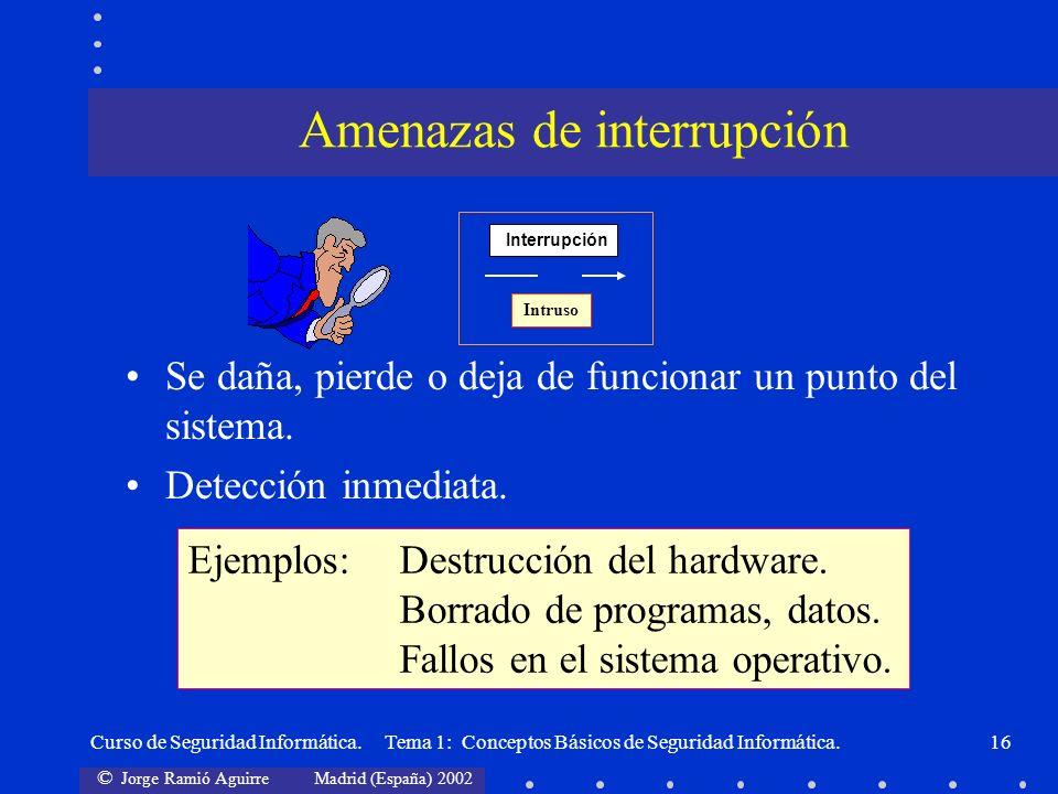 © Jorge Ramió Aguirre Madrid (España) 2002 Curso de Seguridad Informática. Tema 1: Conceptos Básicos de Seguridad Informática.16 Se daña, pierde o dej