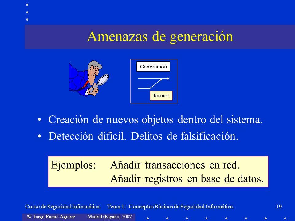 © Jorge Ramió Aguirre Madrid (España) 2002 Curso de Seguridad Informática. Tema 1: Conceptos Básicos de Seguridad Informática.19 Creación de nuevos ob