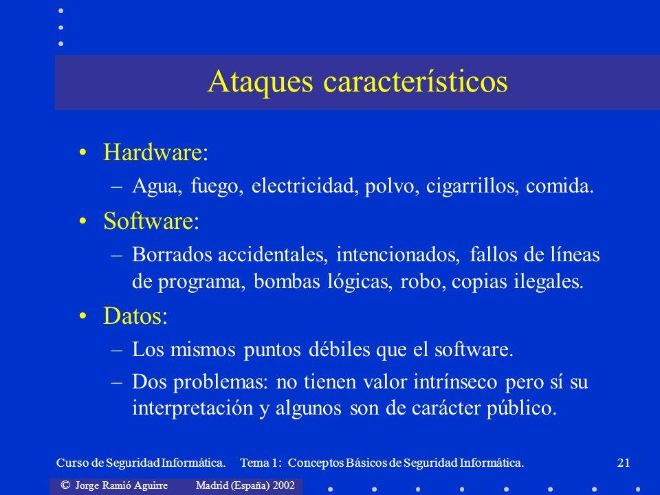 © Jorge Ramió Aguirre Madrid (España) 2002 Curso de Seguridad Informática. Tema 1: Conceptos Básicos de Seguridad Informática.21 Hardware: –Agua, fueg