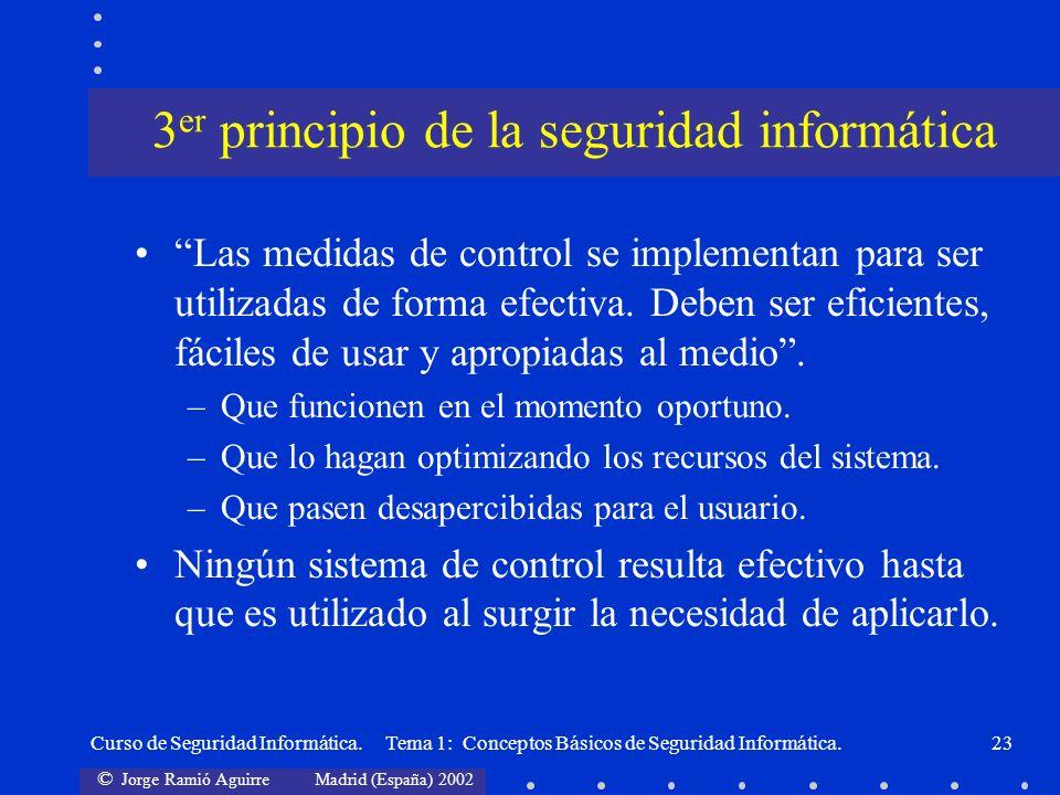 © Jorge Ramió Aguirre Madrid (España) 2002 Curso de Seguridad Informática. Tema 1: Conceptos Básicos de Seguridad Informática.23 Las medidas de contro