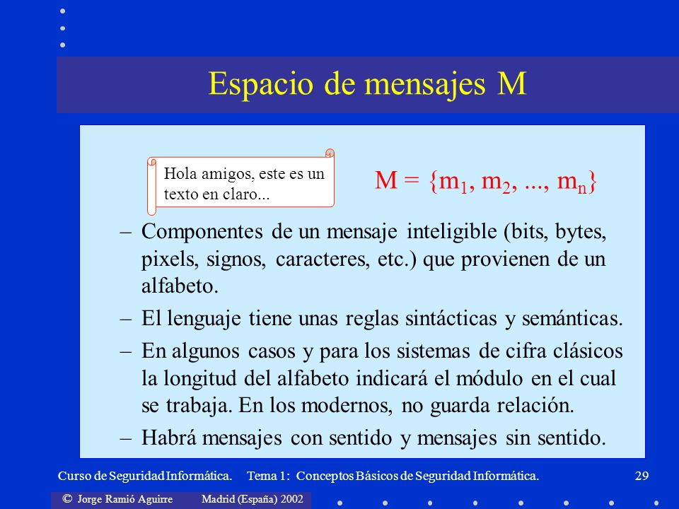© Jorge Ramió Aguirre Madrid (España) 2002 Curso de Seguridad Informática. Tema 1: Conceptos Básicos de Seguridad Informática.29 –Componentes de un me