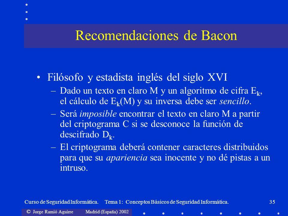 © Jorge Ramió Aguirre Madrid (España) 2002 Curso de Seguridad Informática. Tema 1: Conceptos Básicos de Seguridad Informática.35 Filósofo y estadista