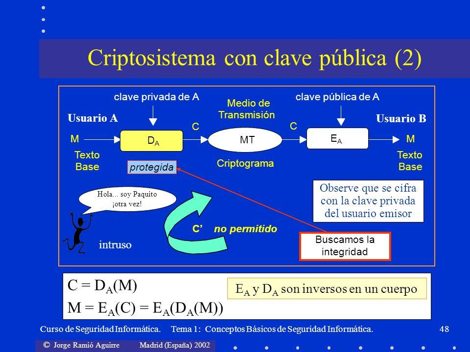 © Jorge Ramió Aguirre Madrid (España) 2002 Curso de Seguridad Informática. Tema 1: Conceptos Básicos de Seguridad Informática.48 Medio de clave privad