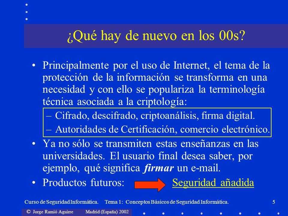 © Jorge Ramió Aguirre Madrid (España) 2002 Curso de Seguridad Informática. Tema 1: Conceptos Básicos de Seguridad Informática.5 Principalmente por el